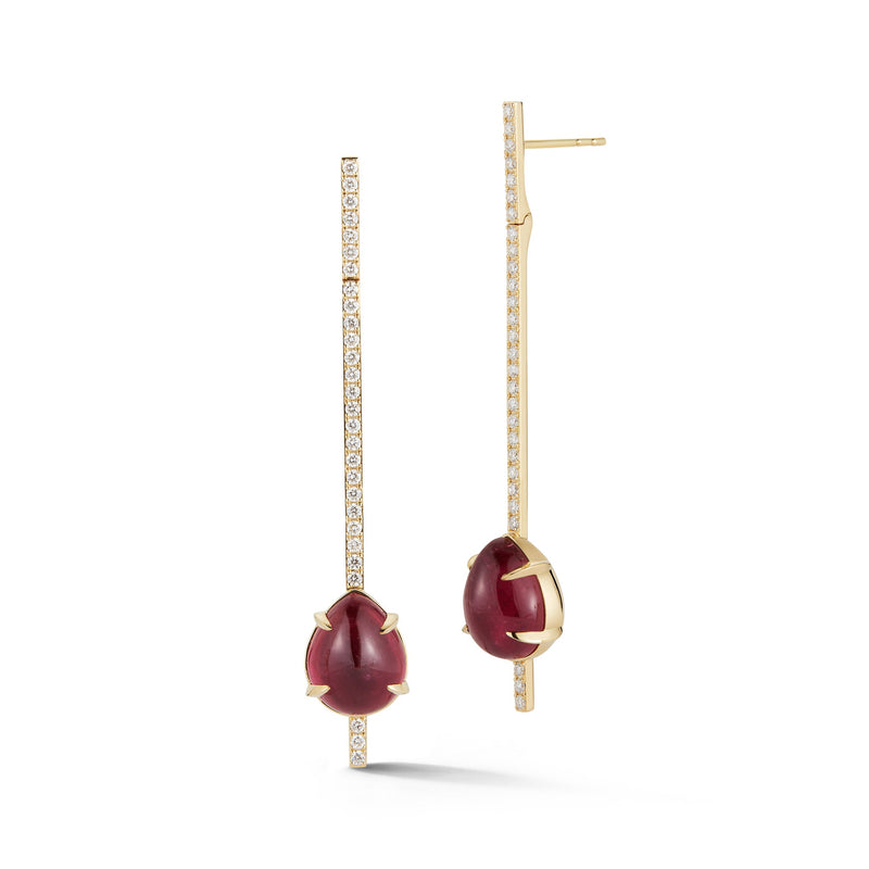 Rubellite and Diamond Bar Earrings