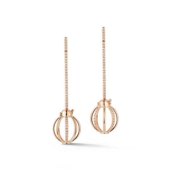 Diamond Cage Bar Earrings in Rose Gold