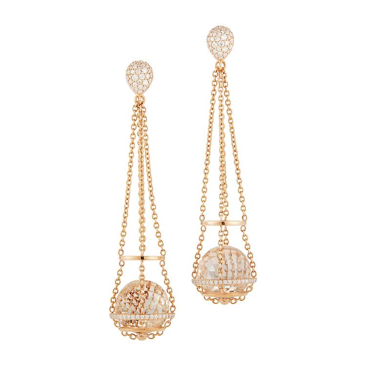 Rock Crystal Cage Chain Basket Earrings in Rose Gold