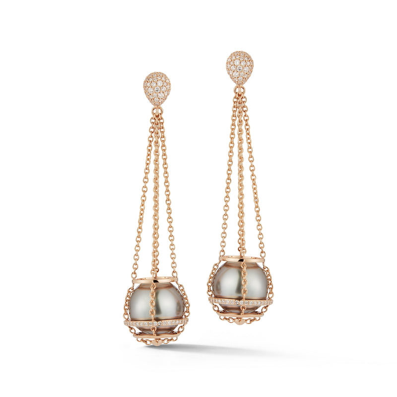 Grey Tahitian Pearl Cage Chain Basket Earrings in Rose Gold
