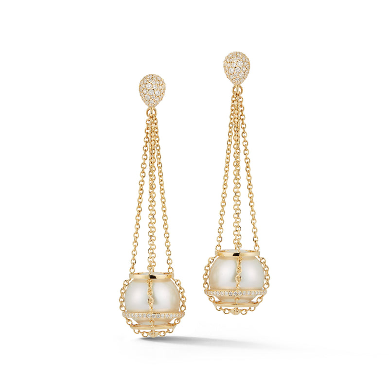 White South Sea Pearl Cage Chain Basket Earrings in Yellow Gold