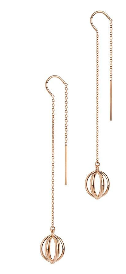 Rose Gold Cage Threader Earrings