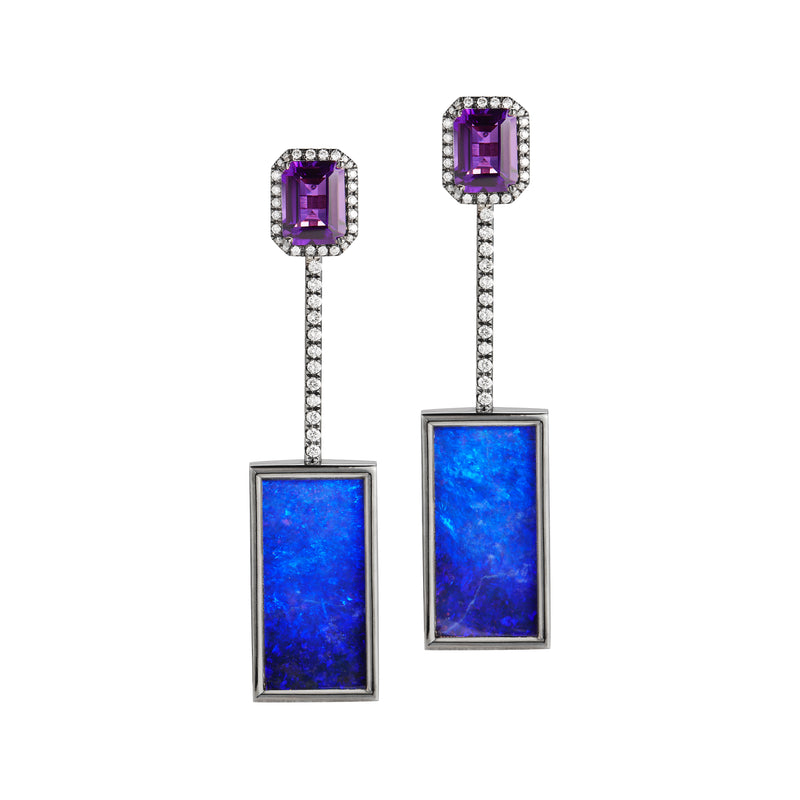Opal & Amethyst Tik Tok Earrings