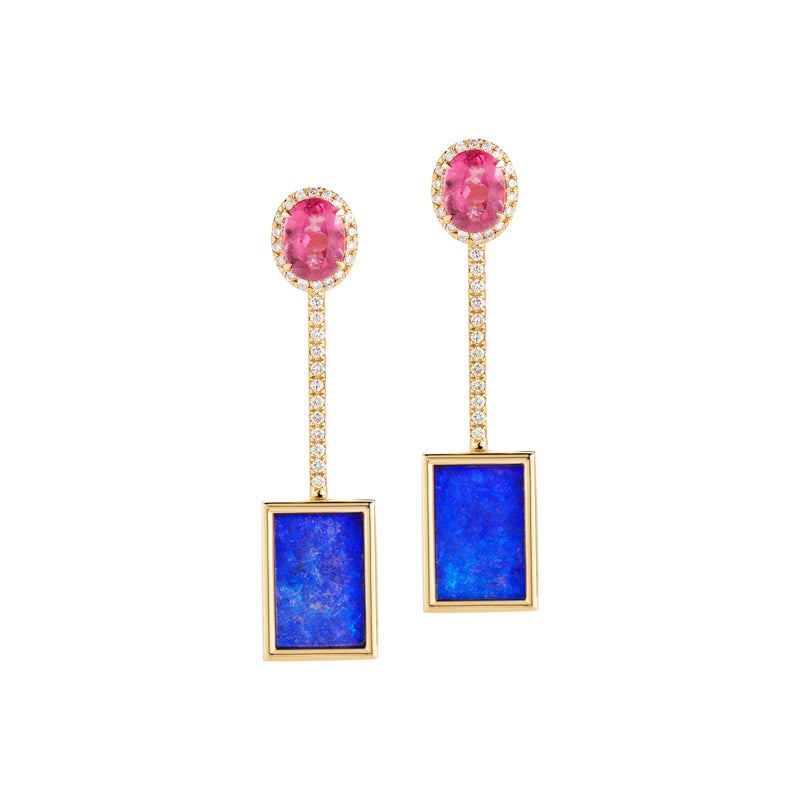 Opal and Rubellite Tik Tok Earrings