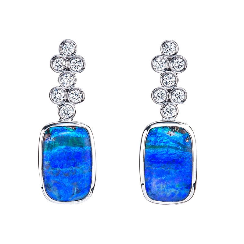 Boulder Opal and Diamond Earrings