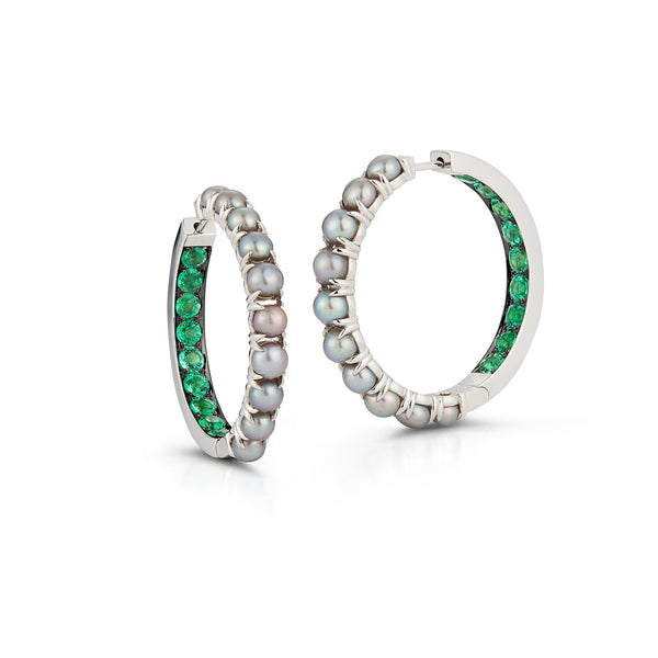 Emerald and Pearl Hoops