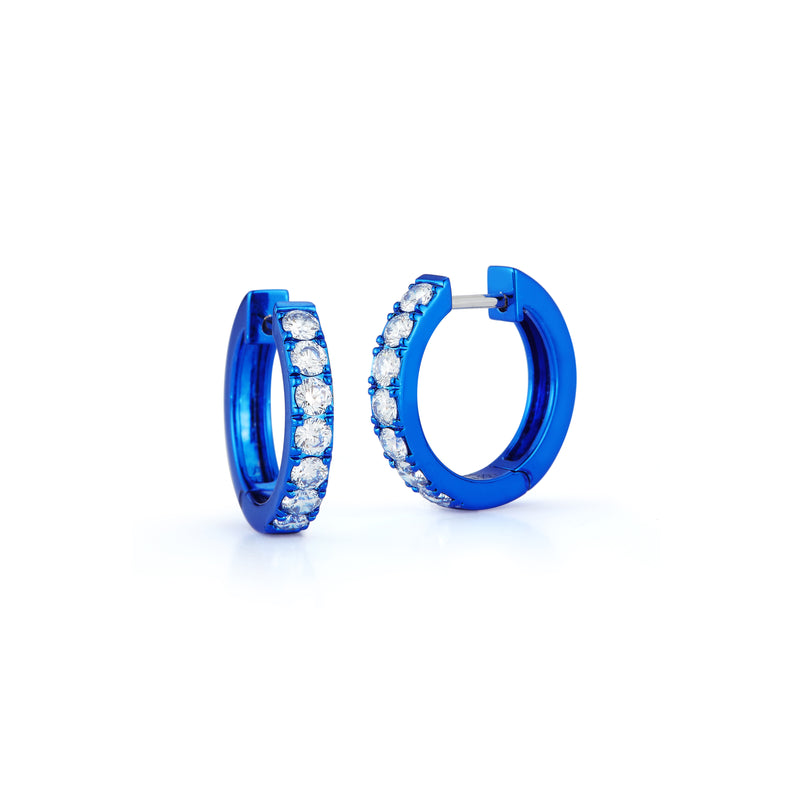 Diamond Mini Huggie Hoops with Blue Rhodium Plating