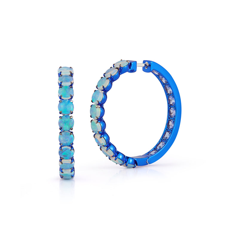 Opal and Tanzanite Hoops with Blue Rhodium