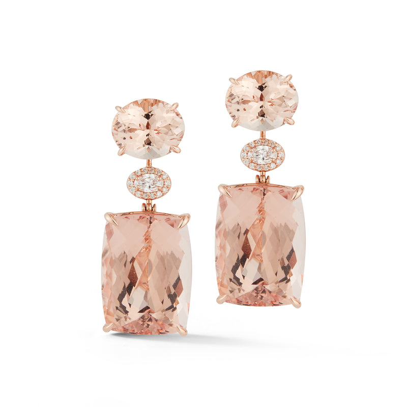 Morganite & Diamond Pastel Sunset Earrings