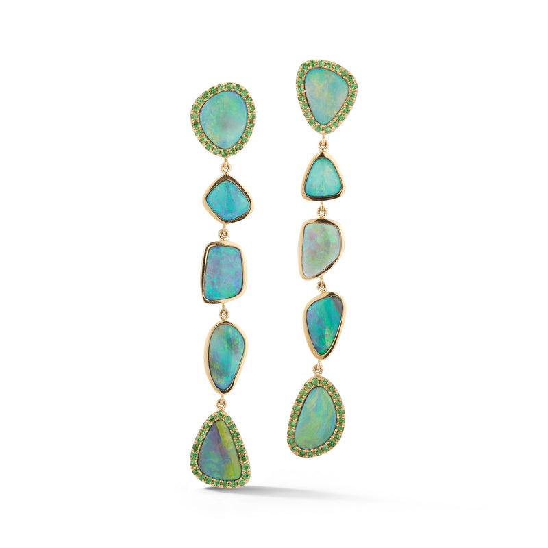 Opal and Tsavorite Line Earrings