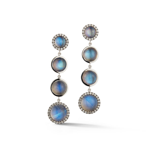 Moonstone & Diamond Four Drop Earrings