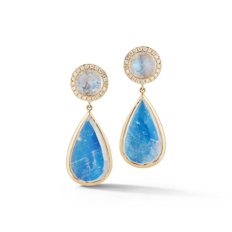 Tear Drop Moonstone & Diamond Earrings