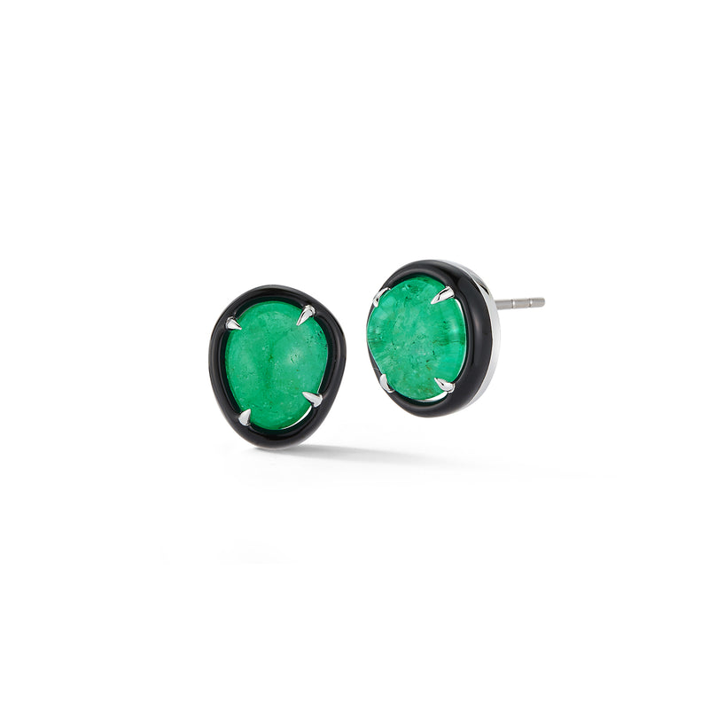 Muzo Emerald and Black Enamel Studs