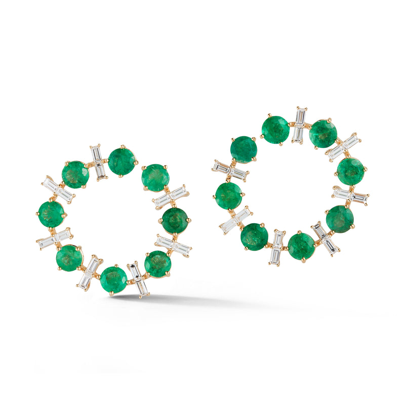 Emerald and Diamond Crescent Earrings