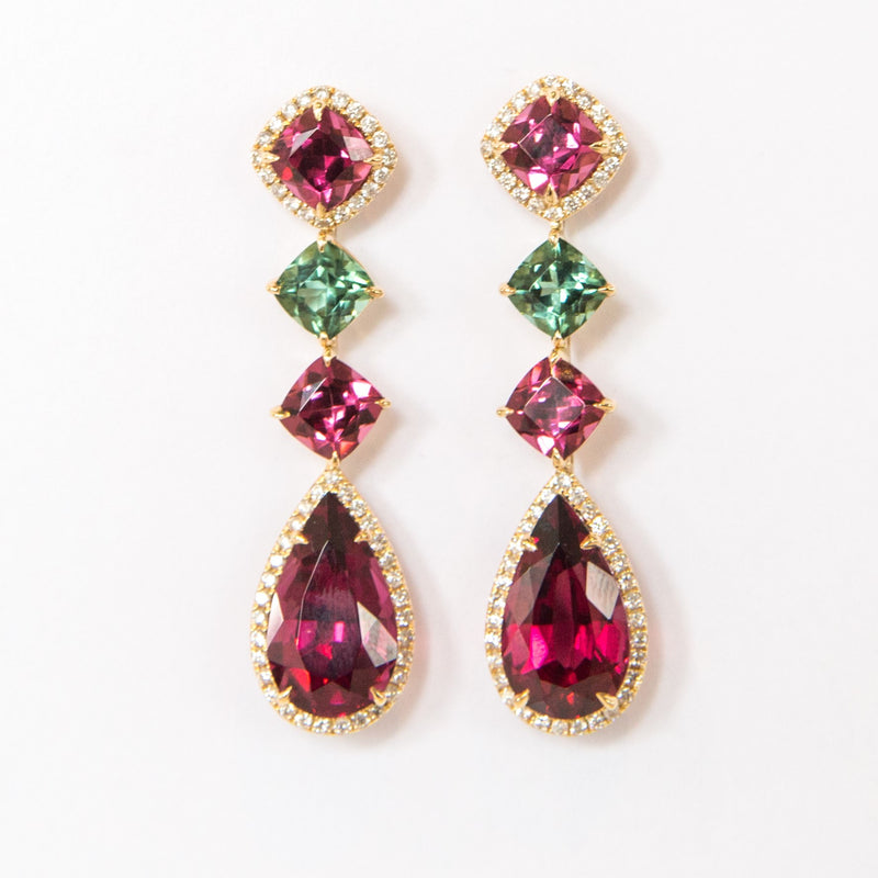 Rhodolite Garnet & Tourmaline Earrings