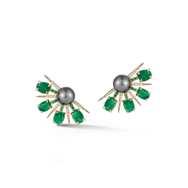 Muzo X Katherine Jetter Collaboration Emerald, Pearl & Diamond Fan Earrings