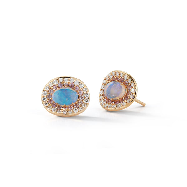 Opal and Pave Diamond Orbit Earrings