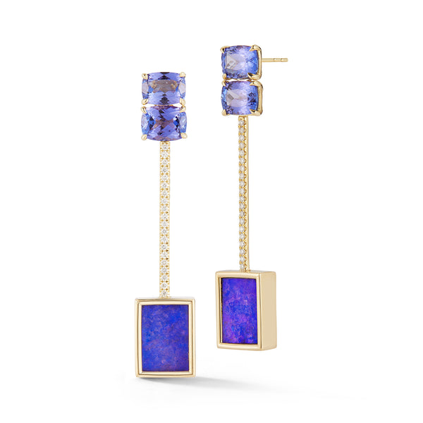 Boulder Opal and Tanzanite Tik Tok Earrings