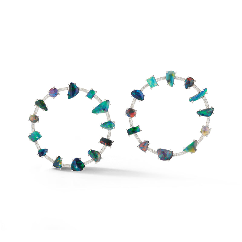 Black Opal & Diamond Orbit Earring
