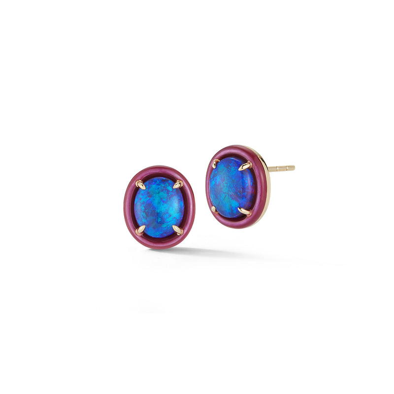 Opal and Purple Enamel Earrings