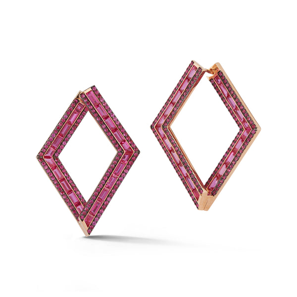 Hot Pink Sapphire Origami Earrings