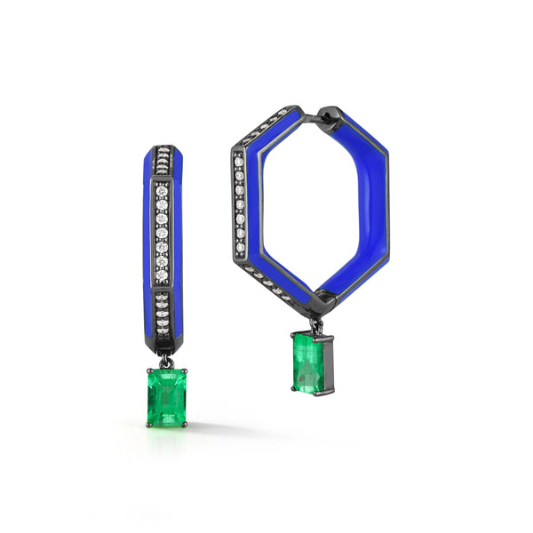 Emerald, Diamond and Blue Enamel Hexagonal Hoops