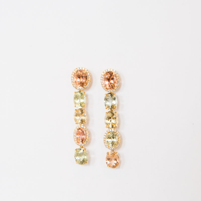 Tourmaline and Diamond Pastel Sunset Earring