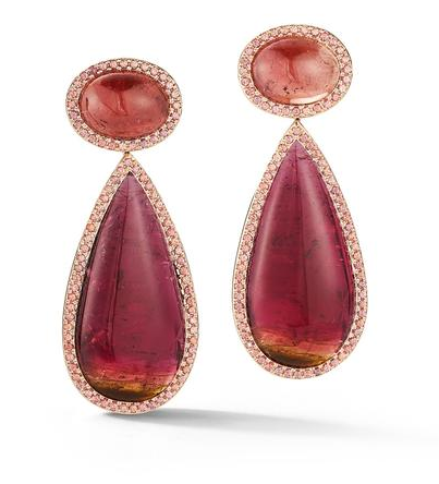 Rubellite & Orange Sapphire Earrings