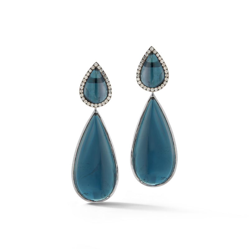 Blue Tourmaline & Diamond Earrings