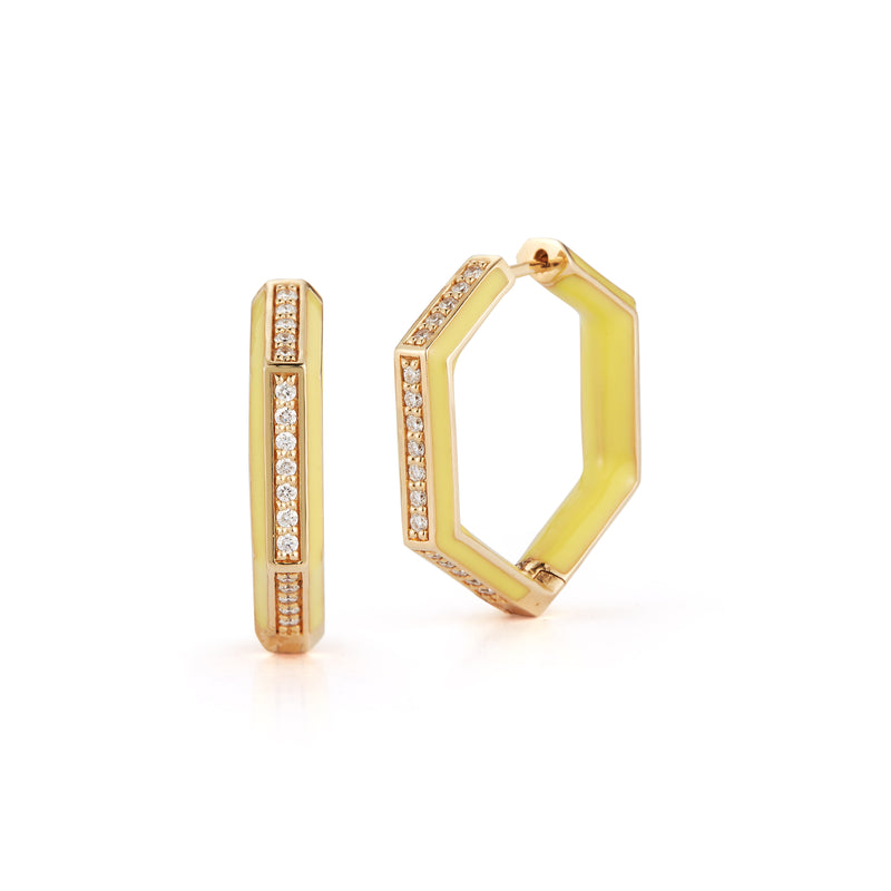 Diamond and Neon Yellow Hexagonal Hoops