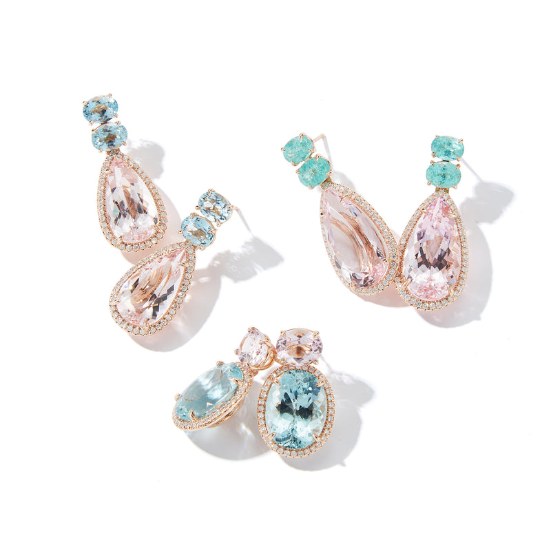 Aquamarine and Morganite Two Tier Earrings