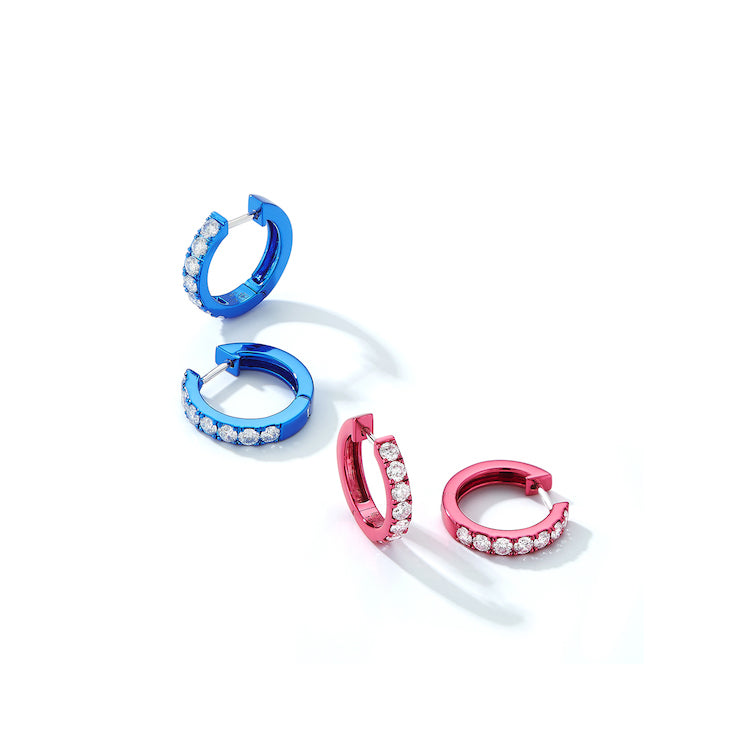 Diamond Mini Huggie Hoops with Pink Rhodium Plating