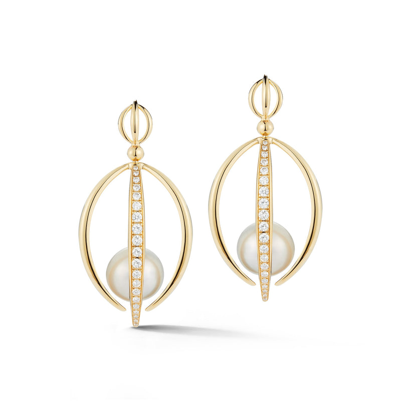 White South Sea Pearl Half Cage Earrings