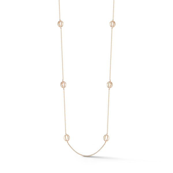 Diamond Cage Station Necklace in Rose Gold
