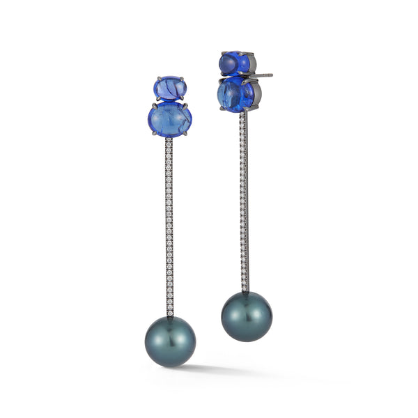 Tanzanite and Grey Tahitian Pearl Tik Tok Earrings
