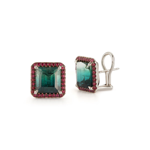 Bi-Color Green Tourmaline and Ruby Studs