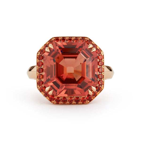 "The ""Ingrid"" Nigerian Square Cut Peach Tourmaline and Spinel Ring"