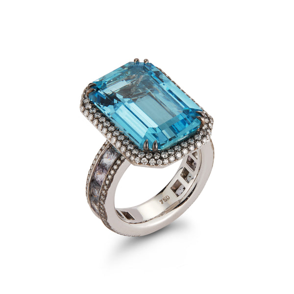 "The ""Elizabeth"" Aquamarine, Spinel & Diamond Cocktail Ring"