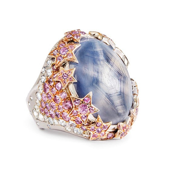 Blue Grey Star Sapphire Evening Cocktail Ring