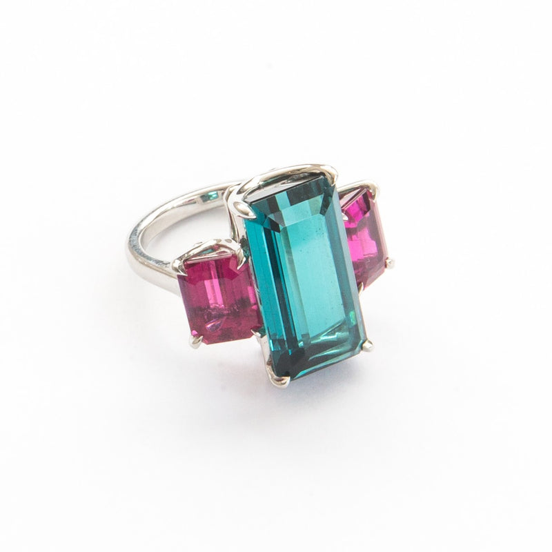 One of a Kind Indicolite and Rubellite Ring