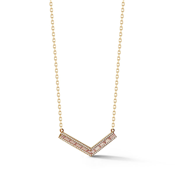 "Malaya Garnet and Champagne Diamond Origami ""V"" Necklace"