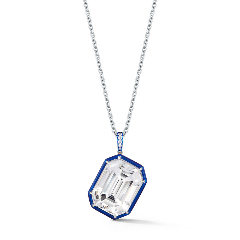 White Topaz Diagonal Pendant with Blue Enamel