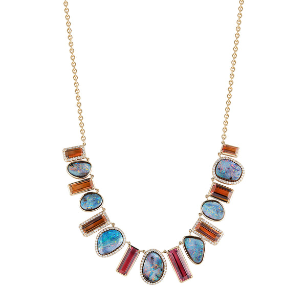 Tourmaline & Opal Evening Cocktail Necklace
