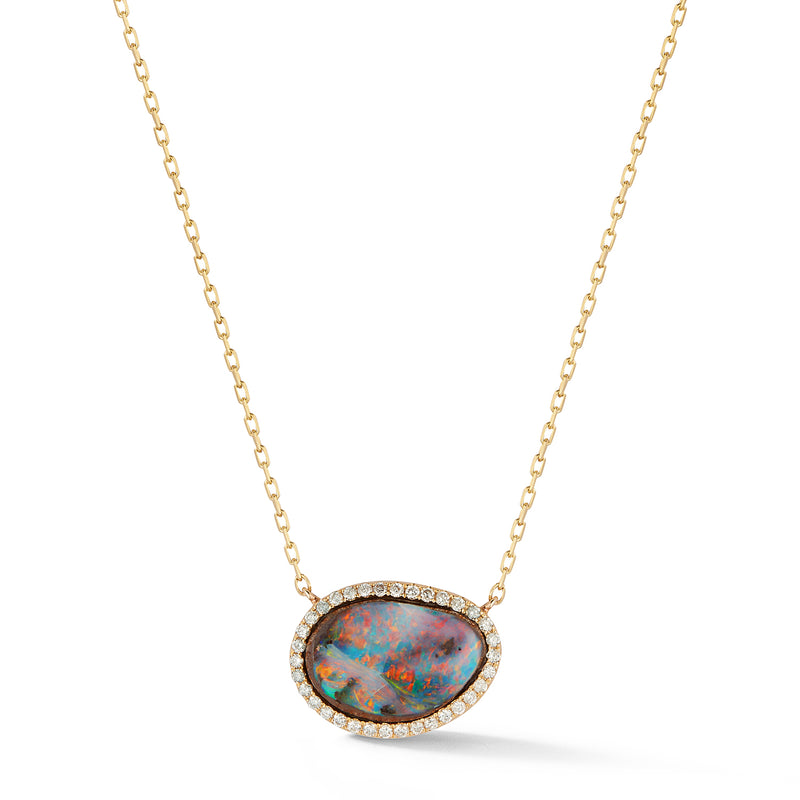 Small Boulder Opal and Diamond Necklace