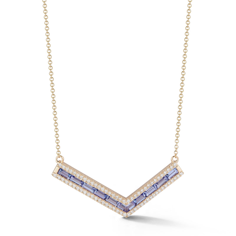 "Tanzanite and Diamond Origami ""V"" Necklace"