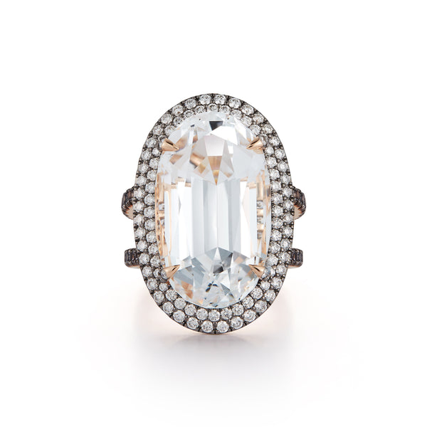 "The ""Marilyn"" White Topaz and Grey Spinel Cocktail Ring"