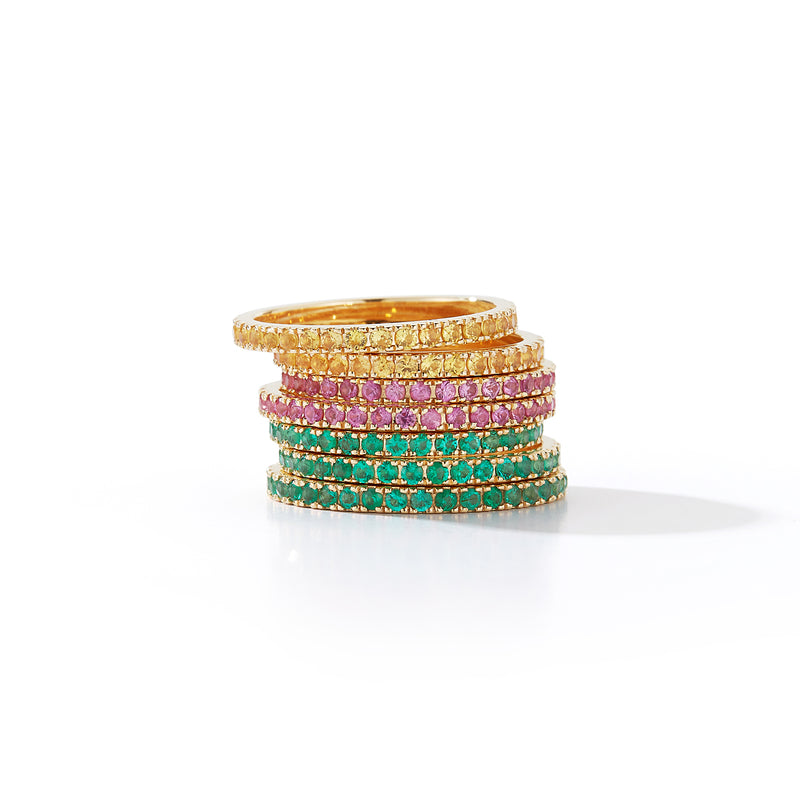 Emerald Eternity Band Rings