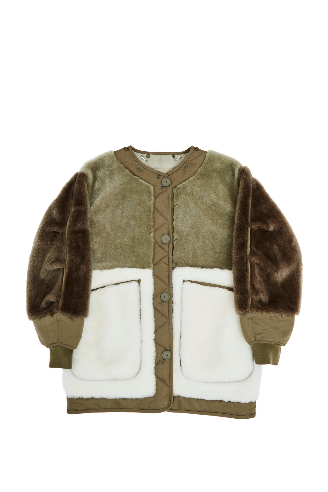 The Reversible Shearling Bomber, Olive