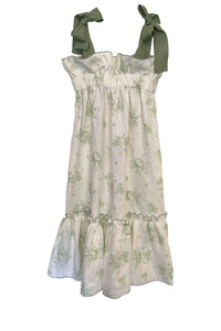 Jaime Dress, Green Rose Cream Linen with Ruffle