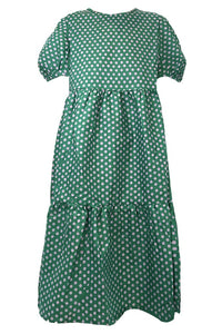 Cotton Madeline Dress, Lila + Green Dot